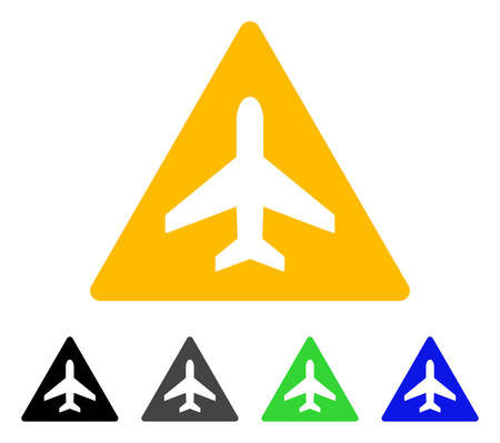 Airplane Problem flat vector illustration. Colored airplane problem gray, black, blue, green icon variants. Flat icon style for graphic design. Illustration
