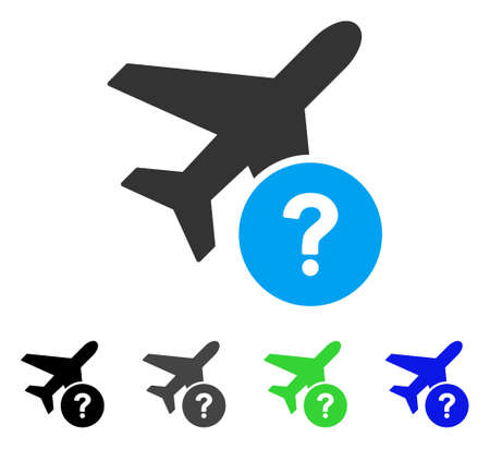 Airplane Status flat vector pictograph. Colored airplane status gray, black, blue, green icon versions. Flat icon style for web design. Illustration