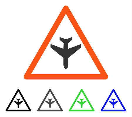 Airplane Warning flat vector pictogram. Colored airplane warning gray, black, blue, green icon variants. Flat icon style for application design.