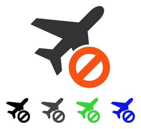 Airport Closed flat vector pictograph. Colored airport closed gray, black, blue, green pictogram versions. Flat icon style for web design.