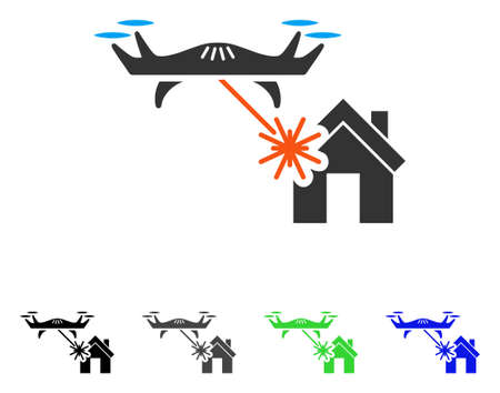 Laser attacks house flat pictograph.