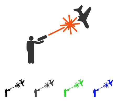 Rebel strikes airplane flat pictograph. Illustration