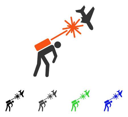 Terrorist strikes aircraft flat pictograph.