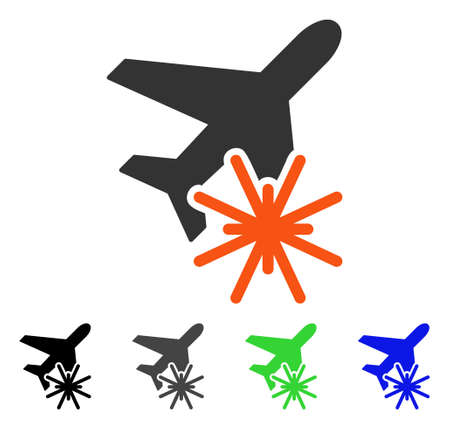 usaf: Aiplane Explosion flat vector pictogram. Colored aiplane explosion gray, black, blue, green pictogram versions. Flat icon style for graphic design.