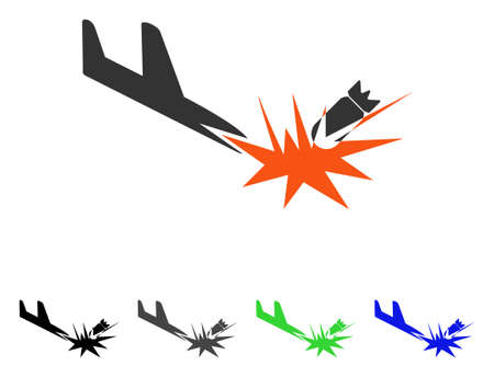 usaf: Aircraft Bomb Explosion flat vector icon. Colored aircraft bomb explosion gray, black, blue, green icon versions. Flat icon style for web design.