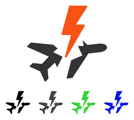 usaf: Aircraft Disaster flat vector icon. Colored aircraft disaster gray, black, blue, green icon variants. Flat icon style for graphic design.