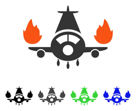 Airplane Engines Burn flat vector pictogram. Colored airplane engines burn gray, black, blue, green icon versions. Flat icon style for graphic design.