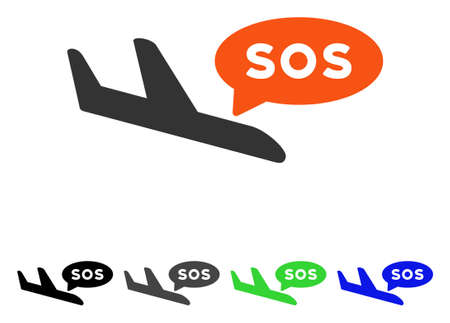 usaf: Airplane Sos Message flat vector pictograph. Colored airplane sos message gray, black, blue, green pictogram variants. Flat icon style for application design.