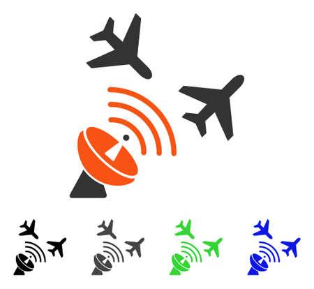 Flight Radar flat vector illustration. Colored flight radar gray, black, blue, green icon versions. Flat icon style for web design. Illustration