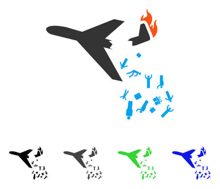Falling Passengers From Airplane flat vector pictogram. Colored falling passengers from airplane gray, black, blue, green pictogram versions. Flat icon style for application design.