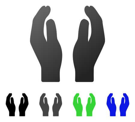Care Hands flat vector pictogram. Colored care hands gradient, gray, black, blue, green icon versions. Flat icon style for application design.