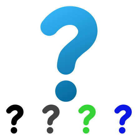 Question flat vector pictogram. Colored question gradient, gray, black, blue, green pictogram variants. Flat icon style for graphic design. Illustration