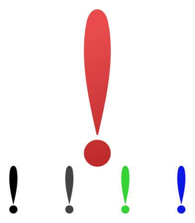 Uitroep teken platte vector pictogram. Gekleurde uitroeptekenverloop, grijze, zwarte, blauwe, groene pictogramvarianten. Platte pictogramstijl voor grafisch ontwerp.