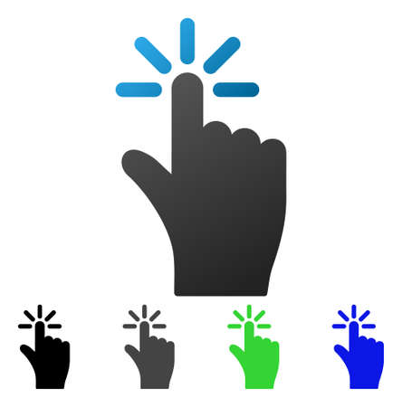 Finger Click flat vector pictograph. Colored finger click gradient, gray, black, blue, green icon versions. Flat icon style for web design. Illustration
