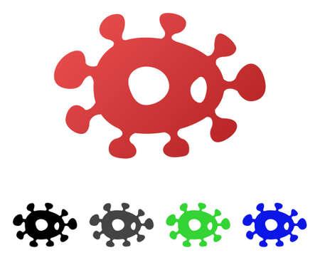 stirrer: Virus flat vector illustration. Colored virus gradient, gray, black, blue, green icon variants. Flat icon style for graphic design.