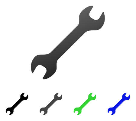 Wrench flat vector icon. Colored wrench gradient, gray, black, blue, green pictogram versions. Flat icon style for application design.