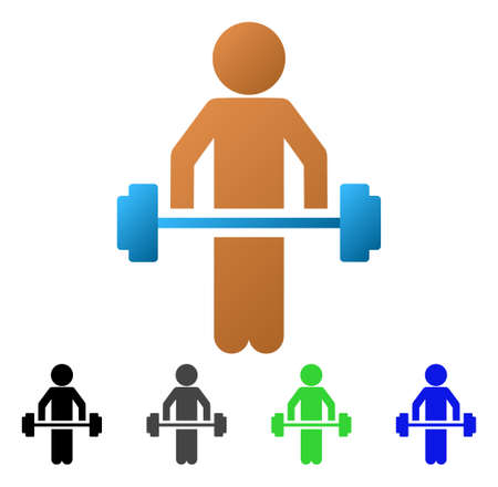 Child Power Lifting flat illustration. Colored child power lifting gradients, gray, black, blue, green pictogram variants. Flat icon style for web design.
