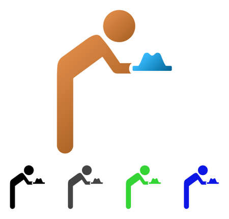 Child Servant flat vector pictogram. Colored child servant gradient, gray, black, blue, green icon versions. Flat icon style for graphic design. Illustration