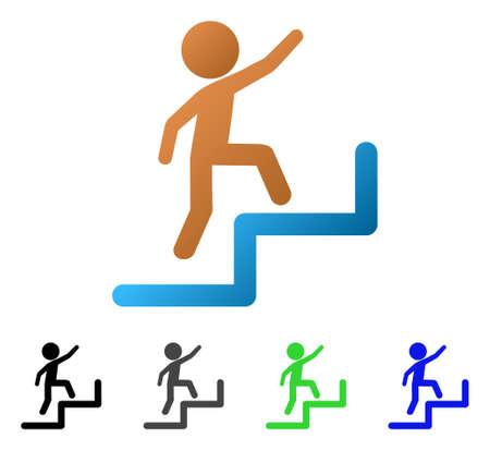 Enfant étapes illustration vectorielle plane à l'étage. L'enfant de couleur monte les versions à pictogrammes dégradées, grises, noires, bleues, vertes. Style d'icône plat pour la conception de l'application.