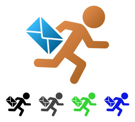 Ilustración de vector plano de Child Mail Courier. Color niño correo courier gradiente, gris, negro, azul, verde, versiones de pictogramas. Estilo de icono plano para diseño gráfico.
