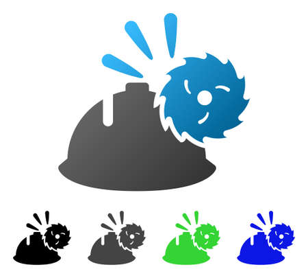 Circular Blade Head Protection flat vector pictograph. Colored circular blade head protection gradiented, gray, black, blue, green pictogram variants. Flat icon style for graphic design.