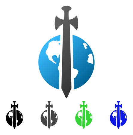 Earth Military Protection flat vector icon. Colored earth military protection gradiented, gray, black, blue, green icon variants. Flat icon style for graphic design. Illustration