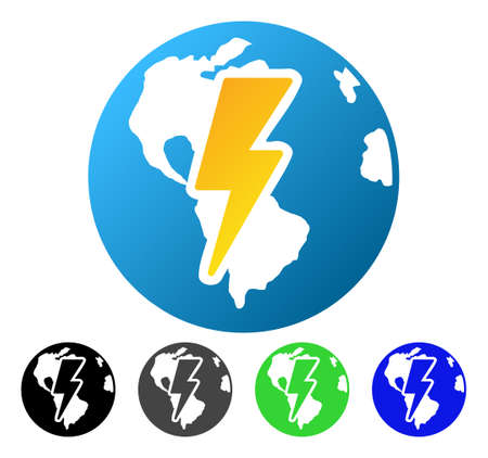 Earth Shock flat vector pictograph. Colored earth shock gradiented, gray, black, blue, green icon variants. Flat icon style for application design.