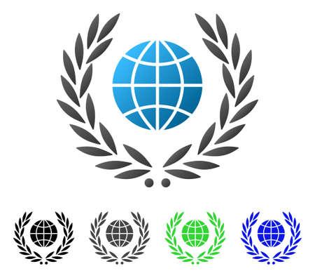 Global Emblem flat vector illustration. Colored global emblem gradiented, gray, black, blue, green pictogram versions. Flat icon style for application design.