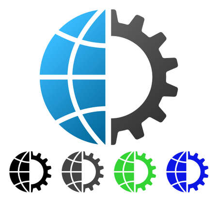 Global Industry flat vector pictogram. Colored global industry gradiented, gray, black, blue, green icon versions. Flat icon style for application design. Illustration