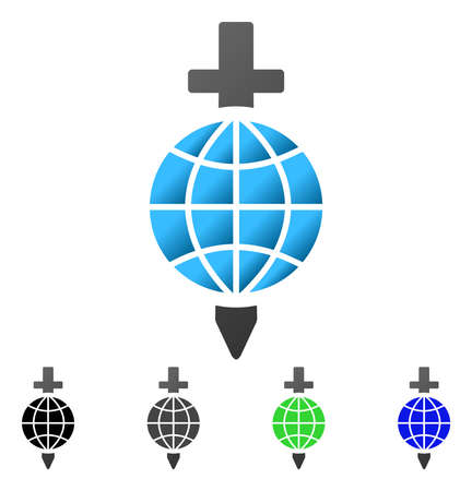 Global Safety Sword flat vector icon. Colored global safety sword gradient, gray, black, blue, green pictogram versions. Flat icon style for web design. Illustration