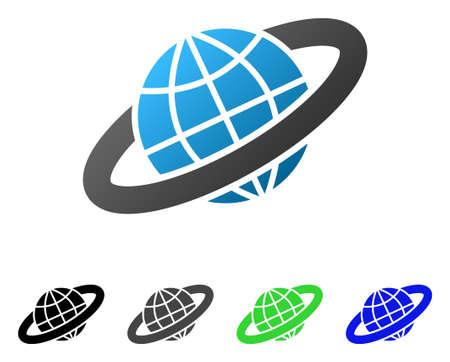 Piktogram wektor płaski pierścień planetarny. Kolorowy gradient pierścienia planetarnego, szary, czarny, niebieski, zielony piktogram wersji. Płaski ikona stylu projektowania graficznego.