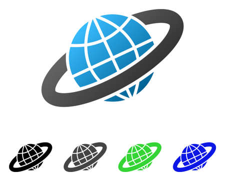 Planetary Ring flat vector pictograph. Colored planetary ring gradient, gray, black, blue, green pictogram versions. Flat icon style for graphic design. Illustration