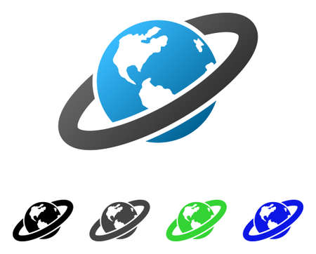 Ringed Planet flat vector pictograph. Colored ringed planet gradient, gray, black, blue, green icon versions. Flat icon style for web design.