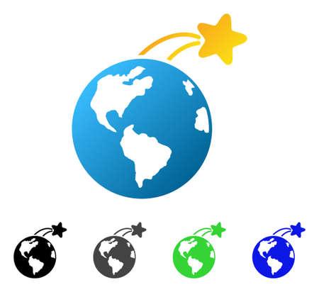 Rosnąca satelita na ziemi płaski wektor ilustracja. Kolorowa rosnąca satelita na ziemi gradient, szary, czarny, niebieski, zielony piktogram wariantów. Płaski ikona stylu projektowania graficznego.