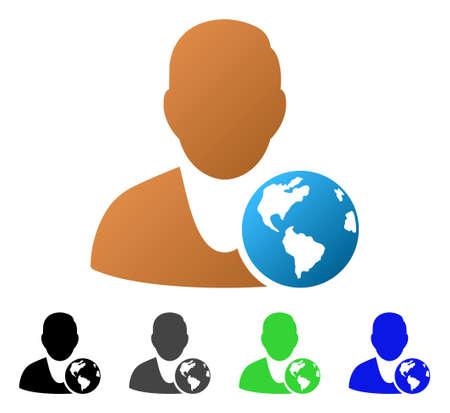 International Manager flat vector illustration. Colored international manager gradient, gray, black, blue, green pictogram variants. Flat icon style for application design.