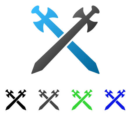 Medieval Swords flat vector pictograph. Colored medieval swords gradiented, gray, black, blue, green icon variants. Flat icon style for application design. Illustration