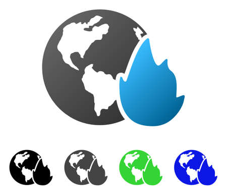 Planet Flame flat vector illustration. Colored planet flame gradient, gray, black, blue, green pictogram versions. Flat icon style for web design.