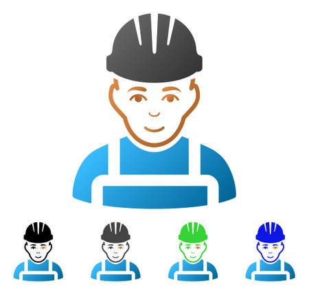 Happy Mechanic flat vector illustration. Colored Happy mechanic gradient, gray, black, blue, green pictogram versions. Flat icon style for web design.