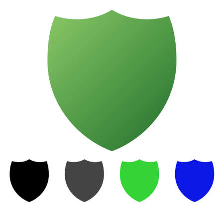 Shield flat vector pictogram. Colored shield gradient, gray, black, blue, green pictogram variants. Flat icon style for graphic design.