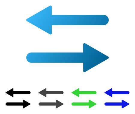 Intercambio de flechas Pictograma vectorial plano horizontal. Las flechas coloreadas intercambian variantes horizontales de gradiente, gris, negro, azul y pictograma. Estilo de icono plano para diseño gráfico. Ilustración de vector