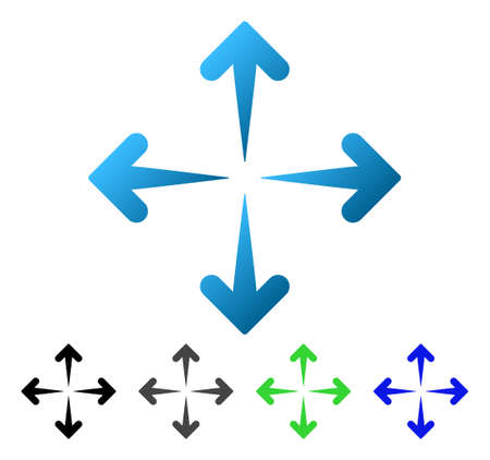 Expand Arrows flat vector pictogram. Colored expand arrows gradiented, gray, black, blue, green icon variants. Flat icon style for application design. Illustration