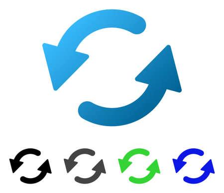 CCW フラット ベクトル図を更新します。色更新 ccw グラデーション、灰色、黒、青、緑のアイコンの亜種。グラフィック デザインのフラット アイコ