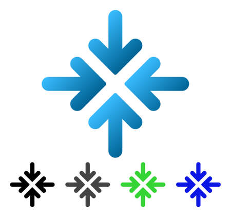 shrink: Quadro Collide Arrows flat vector pictogram. Colored quadro collide arrows gradient, gray, black, blue, green icon variants. Flat icon style for web design.