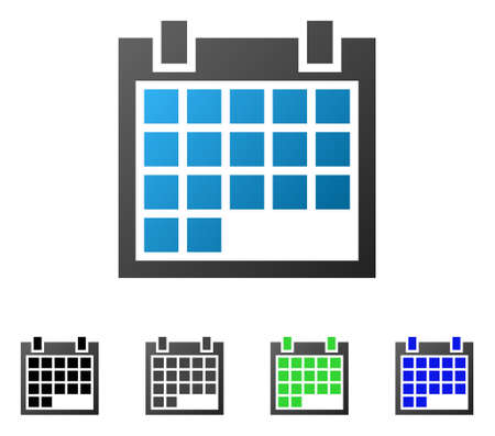 Calendar flat vector pictograph. Colored calendar gradient, gray, black, blue, green icon variants. Flat icon style for application design.