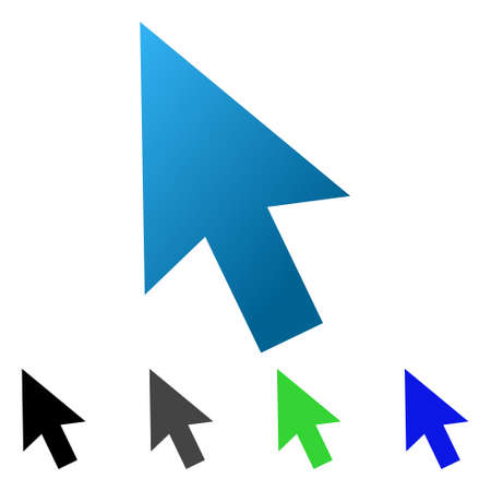 Cursor Arrow flat vector illustration. Colored cursor arrow gradient, gray, black, blue, green icon variants. Flat icon style for graphic design.