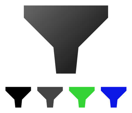 Filter flat vector illustration. Colored filter gradient, gray, black, blue, green icon variants. Flat icon style for application design.
