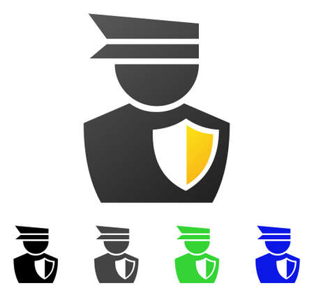Policeman flat vector pictograph. Colored policeman gradient, gray, black, blue, green icon variants. Flat icon style for graphic design. Illustration