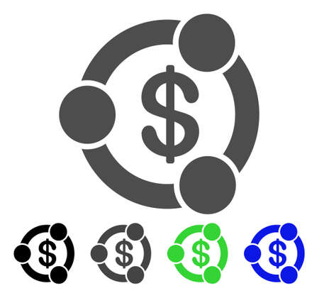 Financial Collaboration flat vector pictogram. Colored financial collaboration, gray, black, blue, green icon versions. Flat icon style for web design.