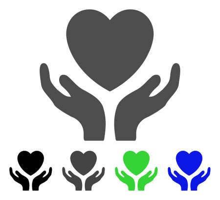 Liebes-Herz-Sorgfalt übergibt flaches Vektorpiktogramm. Farbige Liebesherzpflegehände, graue, schwarze, blaue, grüne Ikonenversionen. Flache Ikonenart für Anwendungsdesign.