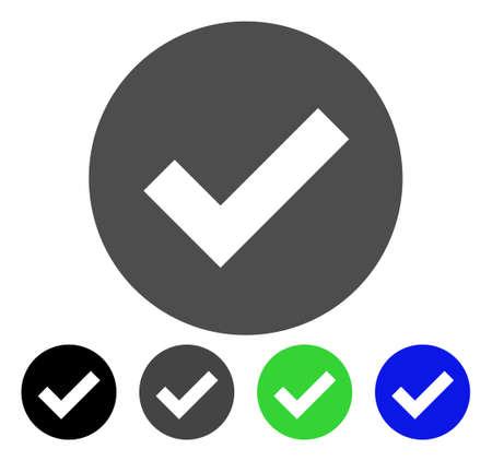 checklist: Ok flat vector pictograph. Colored OK, gray, black, blue, green icon versions. Flat icon style for graphic design.